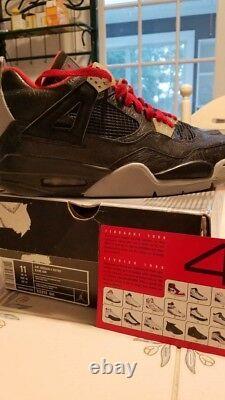 2005 Air Jordan 4 Retro Rare Sneakers Size 11 US Black/Red