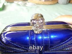 Auth Alexander Mcqueen Royal Blue Union Jack Skull Clutch Very Rare Ltd New