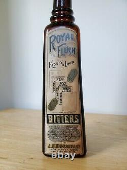 Extremely Rare Royal Flush Bitters New Haven CT With Label & Contents Bottle