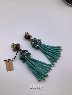 HEIDI DAUS Imperial Pagoda Tassel Drop Earrings NEW RARE Clips