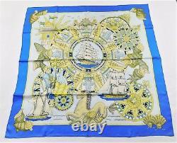 HERMES 2001 Rare NIBWOT 90cm Silk Scarf L'AIR MARIN Royal Blue Ciel Lemon