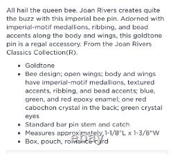 JOAN RIVERS signed Original IMPERIAL BEE Pin/Brooch RARE & Collectible NewithBOX
