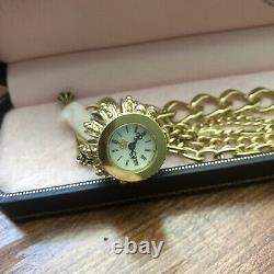 JUICY COUTURE Royal Crown Watch Gold Tone Charm Bracelet New In Box Layered Rare