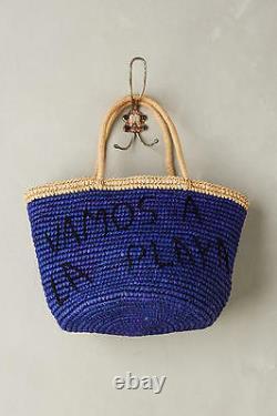 NWT $288.00 Anthropologie La Playa Straw Tote Bag in Royal Blue/Caramelo RARE