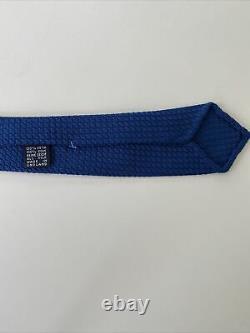 New Drakes London Tie Hand Rolled Grenadine Silk Royal Blue Skim Rare MUST HAVE