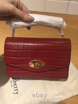 New Rare Mulberry Ruby Red Croc Print Leather Darley Handbag Aso royal