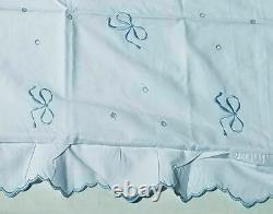 New Rare Yves Delorme Palais Royal Embroidery Scallop 2 Shams Blue Bows France
