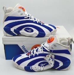 New Reebok Pump Shaqnosis Royal Blue/White/Grey Flux Orange 9 Shaq Rare Retro