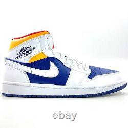 Nike Air Jordan 1 Mid White Deep Royal Blue Orange Red Rare Sample Men's 9