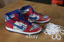 Nike Dunk High Ltd Newspaper varsity red/sport royal/white Sz US 10 very rare