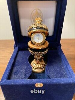 RARE House of Faberge Imperial Collection Black Onyx & Gold Egg- Mint With COA
