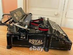 Rare 1912 Antique Royal No. 5 Flatbed Staircase Typewriter Working w New Ink