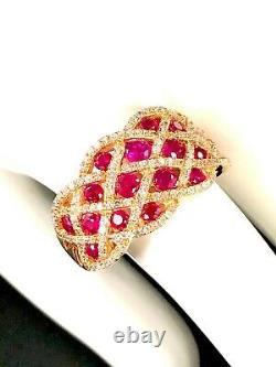 Rare Effy 14k Rose Gold Ruby Royale 153 Diamond Interwoven Cocktail Ring Sz 7