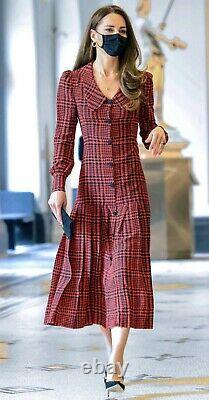 Rare New Alessandra Rich Red Houndstooth Tartan Dress It 44, US 8 Aso Royal