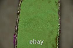 Rare New D Stevens Royal Napoleon Bee Jeweled Velvet Green Purple Wired Ribbon