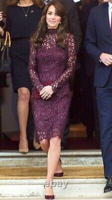 Rare New Dolce & Gabbana Maroon Guipure Lace Dress Aso Royal 38, UK 10, USA 8