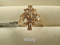 Rare Ouro Preto Imperial Peach Topaz & Diamond 10K Gold Ring Size P-Q/8 RRP £334