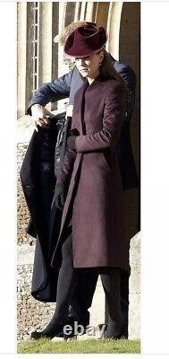 Rare REISS Emile Burgundy Coat ASO Royal Celebrity Kate Middleton Medium
