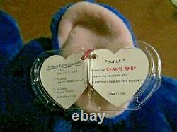 Rare Retired Ty Beanie Buddy Peanut The Royal Blue Elephant 17 Collectible 1998