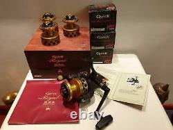 Rare unused 2X DAM QUICK 5500 Royal MDS fishing reels & 3 extra spools NIB pair
