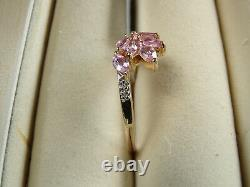 V Rare Imperial Pink Topaz & Diamond 10K Yellow Gold Ring Size R-S/9 RRP £285
