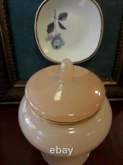 Vintage antique Rare French Royal opaline light pink box with ormolu. Wow